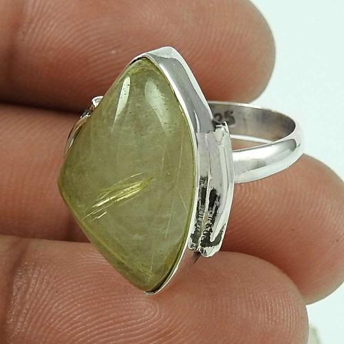 Sterling Silver Fashion Jewellery Designer Golden Rutile Gemstone Ring