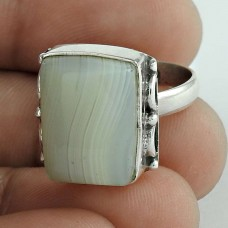 925 Sterling Silver Fashion Jewellery Rare Botswana Agate Gemstone Ring Exporter