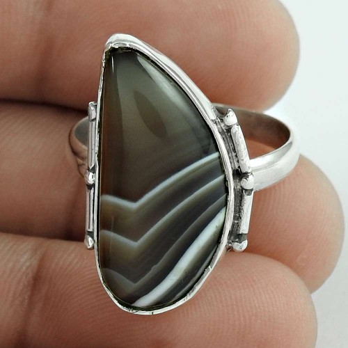 Classy Style! 925 Sterling Silver Botswana Agate Ring