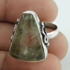 925 Gemstone Silver Jewellery Fashion Golden Rutile Gemstone Ring