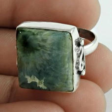 925 Sterling Silver Gemstone Jewellery Designer Green Jasper Gemstone Ring