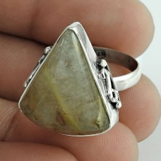 925 Gemstone Silver Jewellery Trendy Golden Rutile Gemstone Ring