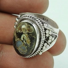 Amazing! 925 Sterling Silver Cornold Fossil Ring