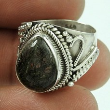 Sterling Silver Jewellery Charming Black Rutile Gemstone Ring Wholesale Price