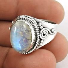 925 Sterling Silver Jewellery Designer Rainbow Moonstone Gemstone Ring