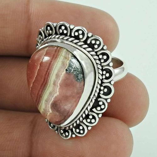 Fabulous! Rhodochrosite 925 Sterling Silver Ring