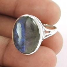 Big Excellent ! Labradorite Gemstone 925 Sterling Silver Ring