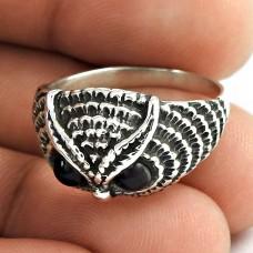 Big Natural Top!! Designer 925 Sterling Silver Black Onyx Owl Ring Proveedor
