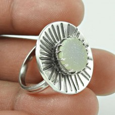 Antique ! Druzy Gemstone 925 Sterling Silver Ring