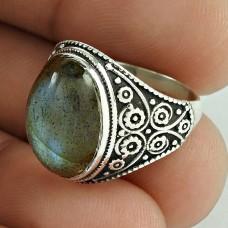Big Delicate Labradorite Gemstone Sterling Silver Ring Jewellery