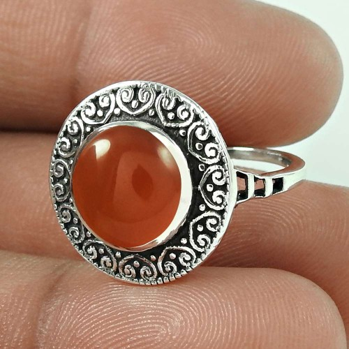Unique Design Carnelian Gemstone 925 Sterling Silver Ring
