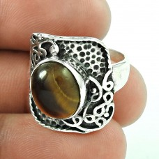 Circean!! 925 Sterling Silver Tiger Eye Ring