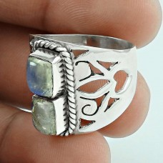 Stunning ! 925 Sterling Silver Rainbow Moonstone Ring