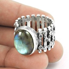 Blue Shine!! 925 Sterling Silver Labradorite Ring