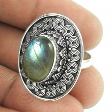 Big Royal Style!! 925 Sterling Silver Labradorite Ring