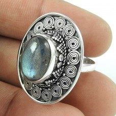 Stunning Natural Rich!! 925 Sterling Silver Labradorite Ring