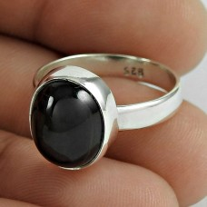 Huge Modern Style Black Star Gemstone Silver Ring Jewellery