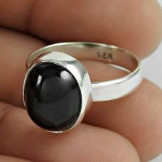 Huge Modern Style Black Star Gemstone Silver Ring Jewellery