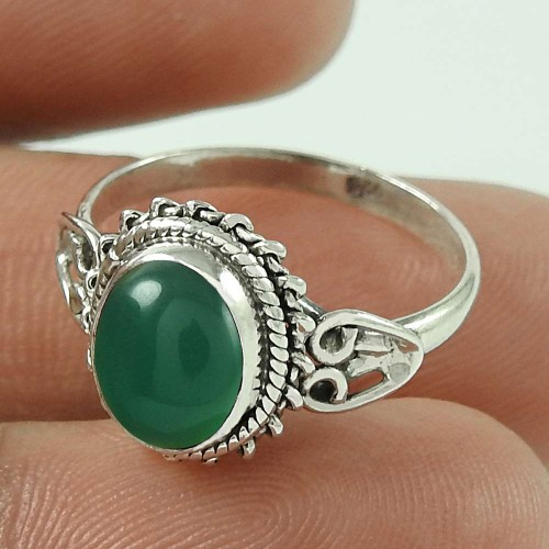 Paradise Bloom ! Green Onyx Gemstone Sterling Silver Ring