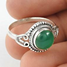 Fine ! Green Onyx Gemstone Silver Ring Jewellery