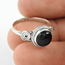 Captivating ! Black Onyx Gemstone Silver Ring Jewellery