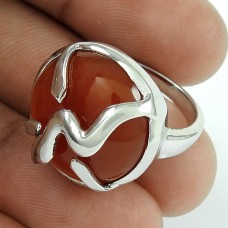 Placid Carnelian Gemstone Silver Jewellery Ring