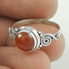 New Design ! Carnelian Gemstone Silver Ring Jewellery