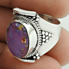 Royal ! Purple Copper Turquoise Gemstone Silver Ring Jewellery