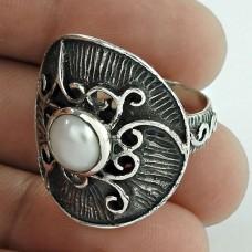 Big Design Pearl Gemstone Silver Jewellery Ring
