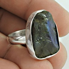 Soigne !! Labradorite Rough Stone Sterling Silver Ring Jewellery Fabricante