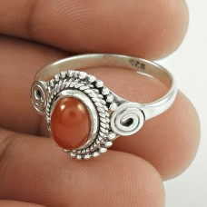 Huge Modern Style ! Carnelian Gemstone 925 Sterling Silver Ring