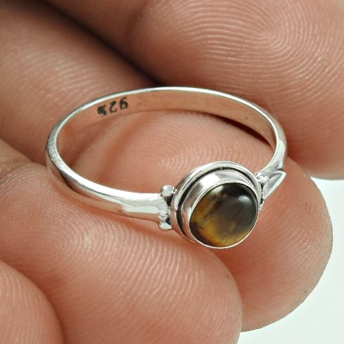 Seemly Tiger Eye Gemstone Silver Jewellery Ring
