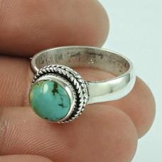 Pleasing Turquoise Gemstone 925 Sterling Silver Ring Jewellery