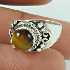 Well-Favoured Tiger Eye Gemstone 925 Sterling Silver Ring Jewellery