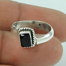Charming Black Onyx Gemstone 925 Sterling Silver Vintage Ring Jewellery