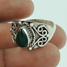 Lustrous Green Onyx Gemstone 925 Sterling Silver Fashion Ring Jewellery