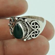 Lustrous Green Onyx Gemstone 925 Sterling Silver Fashion Ring Jewellery