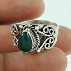 Stylish Green Onyx Gemstone 925 Sterling Silver Ring Jewellery
