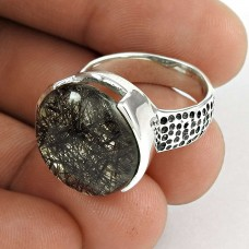 925 Sterling Silver Indian Jewellery Fashion Black Rutile Gemstone Ring