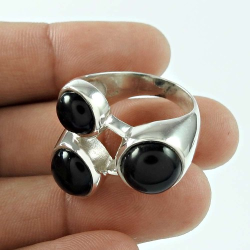 Beautiful Black Onyx Gemstone 925 Sterling Silver Ring Jewellery