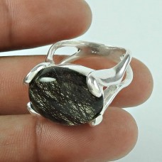 925 Sterling Silver Fashion Jewellery Fashion Black Rutile Gemstone Ring
