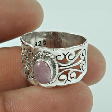 Fashion 925 Sterling Silver Rose Quartz Gemstone Ring Antique Jewellery
