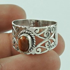 Designer 925 Sterling Silver Brown Sunstone Gemstone Ring Traditional Jewellery