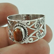 Party Wear 925 Sterling Silver Brown Sunstone Gemstone Ring Ethnic Jewellery