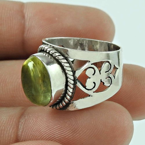 Excellent 925 Sterling Silver Vintage Lemon Quartz Gemstone Ring Jewellery