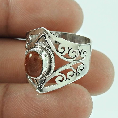 Beautiful 925 Sterling Silver Brown Sunstone Ring Jewellery