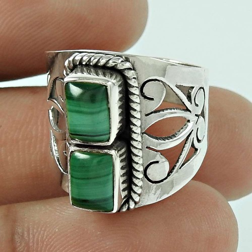 Well-Favoured Malachite Gemstone 925 Sterling Silver Ring Jewellery