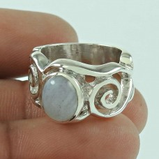 925 Sterling Silver Jewellery Beautiful Blue Lace Agate Gemstone Ring