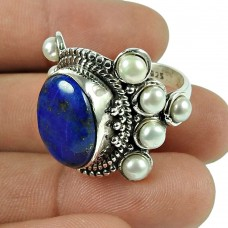 Lovely Lapis, Pearl Gemstone Ring Indian Sterling Silver Jewellery
