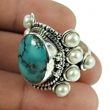 Graceful Turquoise, Pearl Gemstone Fashion Ring Sterling Silver Jewellery